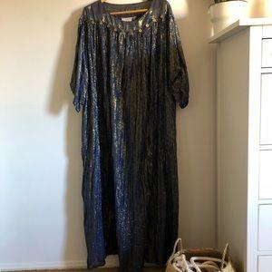 Vintage Caftan Gown OS Cotton Blue Gold Sparkle